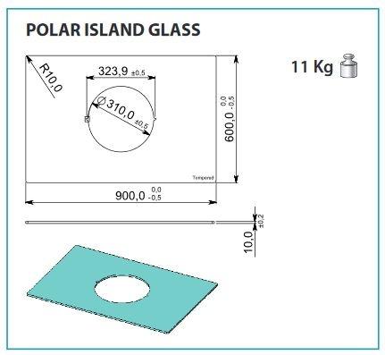 Glasschirm für Polar-Wand- oder Inselhaube von Falmec